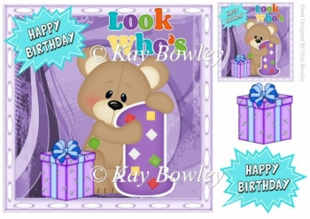 Look who's ONE! Cute birthday bear with present 8x8