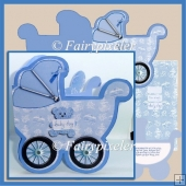 Baby Boy Pram shaped card