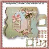 Vintage Vase Of Roses Ornate Shaped Card Kit