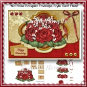 Red Rose Bouquet Envelope Style Card Front