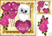 Cute little white valentine owl with pink roses & heart 8x8