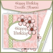 Happy Birthday Doodle Flowers Card Front Kit