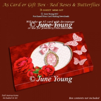 A5 Card or Gift Box - Red Roses & Butteflies