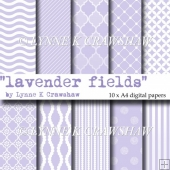 LAVENDER FIELDS - 10 x A4 printable high quality digital papers