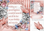 Pretty silver & peach roses with butterflies & verse 8x8
