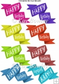 "Twisted ""Happy Birthday"" Banners/tags in white font"