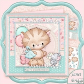 POORLY KITTY GET WELL SOON 8x8 Decoupage Kit