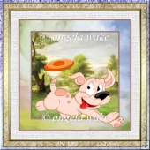 happy puppy 7x7 card with decoupage