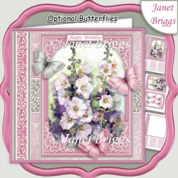 HOLLYHOCKS & BUTTERFLIES All Occasions Quick Card & Insert Kit