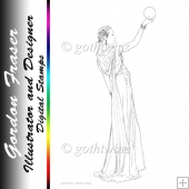 Art Deco Lady Pandore Digi Stamp
