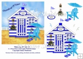 Thinking Of You Blue & White Beach Hut (4) 6 x 6 Card Topper