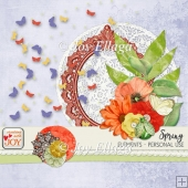 Spring Themed Scrapbook Elements in Orange Yellow and Green