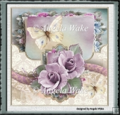 Lilac rose and butterfly 7x7
