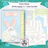 Easter Bunny 3D Decoupage 5 x 7 Inch Card Inserts & Envelope
