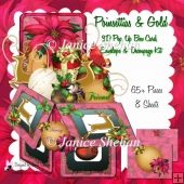 CHRISTMAS POINSETTIAS AND GOLD 3D POP UP BOX CARD KIT