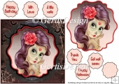 Lady Moerte 6 inch card topper 121