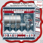 TANKER LORRY 7.5 Alphabet and Age Quick Card Kit Create Any Name