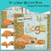 It's A Dog's Life Card Front with Decoupage