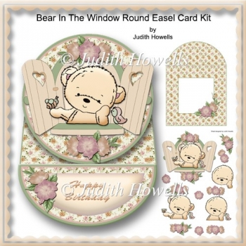 Bear In The Window Round Easel Card Kit