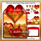 Red And Gold Heart Peek-a-Boo Card Kit