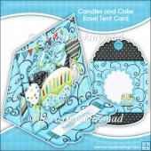 Candles and Cake Easel Tent Card & Envelope