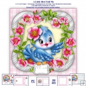 A Little Bird Told Me 6x6 Card Topper Decoupage Envelope Insert