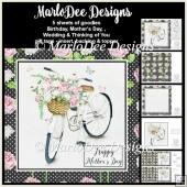 Shabby Chic Bicycle Basket of English Roses Mini Card Kit