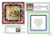 Ginger Cat In The Roses Card Topper Insert Verse Tag & Bookmark
