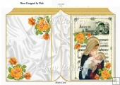 Mary & baby Jesus on a carol sheet & yellow roses A5 folded book