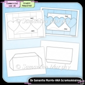 Heart Tri Shutter Card & Envelope Template Commercial Use Ok