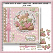 Love Bear In Pink, Green And Chocolate Colours Card Front