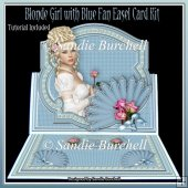 Blonde Girl with Blue Fan 8 x 8 Easel Card Kit