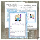 Girly Girl Birthday Party Invitation 3 - Front and Back Included