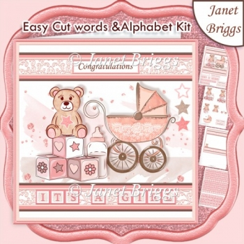 BABY GIRL WORD KIT Personalise with Easy Cut Words & Alphabet