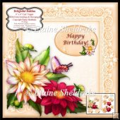 "Delightful Dahlias - 6"" x 6"" Card Topper + Decoupage & Greetings"