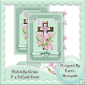 Pink Lilly And Cross 7x5 Card Front