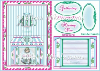 Afternoon Tea Notecard with Inside Panels