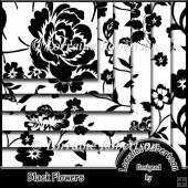 Black Flowers Backing Papers
