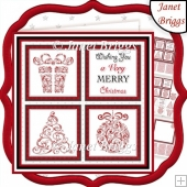 CHRISTMAS ICONS SQUARES RED 7.5 Quick Layer Cards & Insert Kit