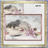 Stream in winter card with decoupage