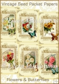 Vintage Seed Packet Backing Background Papers