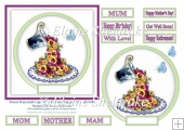 Floral Waterfall Teacup (1) - 6 x 6 Toppers For Mums & Females