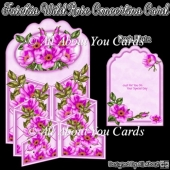 Fuschia Wild Rose Concertina Card