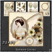 Vintage Shabby Flower Card Kit brown yellow 1445