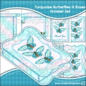 Turquoise Butterflies N Roses Notelet Set
