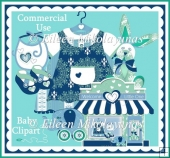 Commercial Use Blue Green Baby Clipart Set
