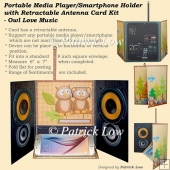 Portable Media Player/Smartphone Holder Card - Owl Love Music