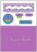 Purple and Green Butterfly Wavy Penny Slider Sheet