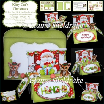 Kitty Cat's Christmas - 3D Pop Up Box Card Kit & Matching Env