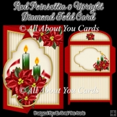 Red Poinsettia Upright Diamond Fold Card
